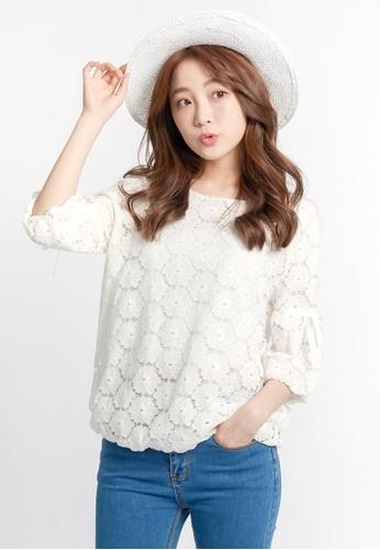 Tokichoi white Flower Lace Blouse E6C8AAAFDF6C50GS_1