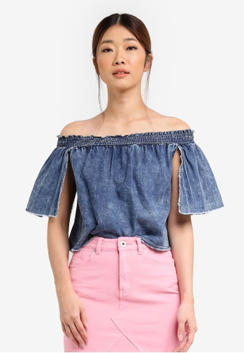 Factorie blue Shirred Sophie Top FA880AA0SKLAMY_1