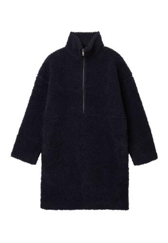 COS blue Wool Mix Teddy Half-Zip Closure Dress F57EEAA230EF30GS_1