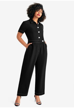 101f59c63c288 Violeta by MANGO black Plus Size Contrast Seam Jumpsuit C3BE9AAF4C516BGS 1
