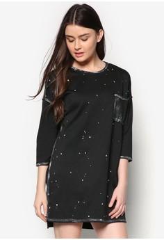 Silver Brush Stroke Tshirt Dress