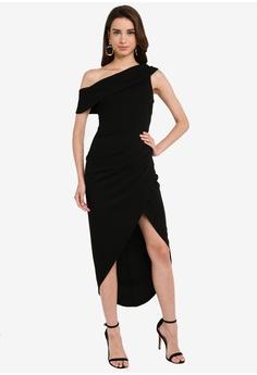 1b0a36f39a Goddiva black Drop Sleeve Wrap Maxi Dress 9A795AAAA5327EGS_1