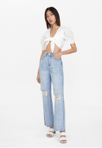 Pomelo white Puffed Sleeves Crop Tie Top - White B2416AAB652FA6GS_1