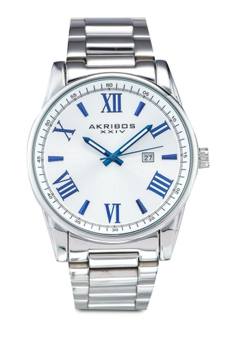 Akribos XXIV silver Date Stainless Steel Watch 9920FAC39B38BFGS_1