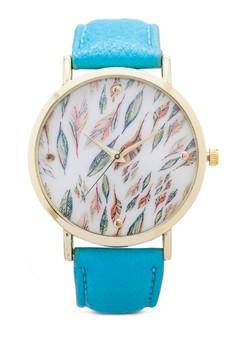 【ZALORA】 Feather Print Face Watch