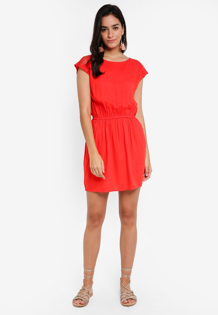 Short Vero Dress Alva Moda S Red S Poppy 64q4Faf