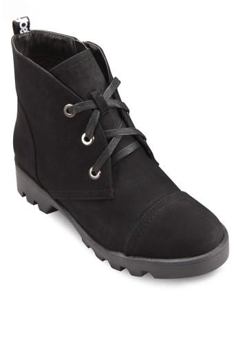 三眼繫帶粗跟短靴,esprit 尖沙咀 女鞋, 鞋
