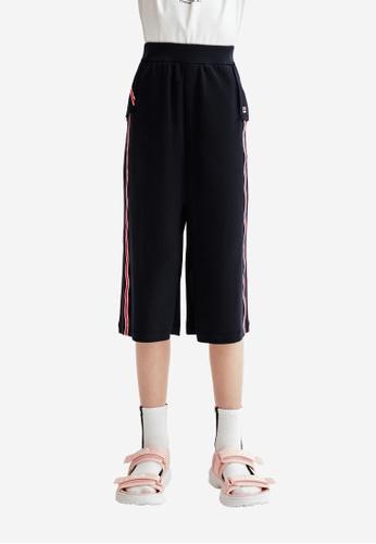 FILA navy FILA KIDS F-box Logo Side Striped Wide-Legged Cotton Capri Pants 8-13yrs 008A6KA5651DD3GS_1