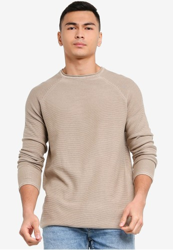 Only & Sons brown Dextor Life Washed Raglan Knit Pullover 00957AA86EC2D8GS_1