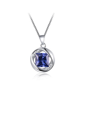 Glamorousky purple 925 Sterling Silver December Birthday Stone Pendant with Blue Cubic Zircon and Necklace 1CF32ACE509BD6GS_1