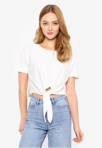 Brave Soul white Jacquard Tie Front Jersey T-Shirt 459A5AA5D6055DGS_1