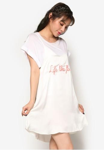 韓風細肩帶zalora時尚購物網的koumi koumi刻字迷你連身裙, 服飾, 洋裝