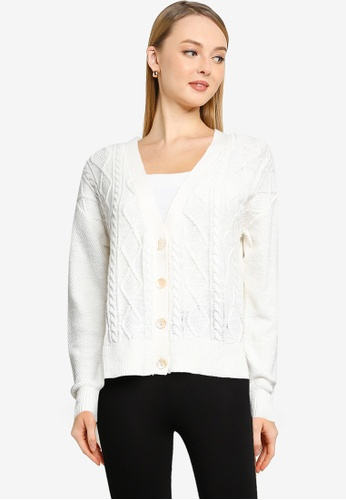 Springfield white Cable Knit Cardigan 70215AA7AB4E67GS_1