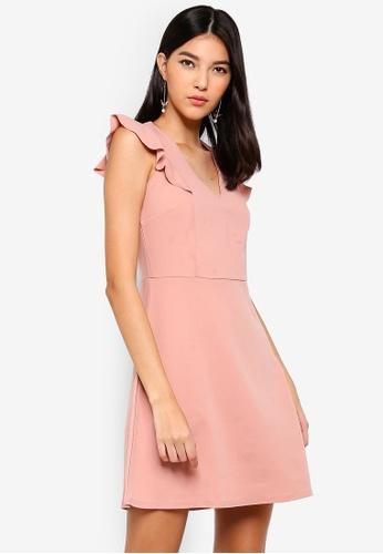 Dorothy Perkins 粉紅色 荷葉袖V領短洋裝 5E22FAA1E2E2A8GS_1