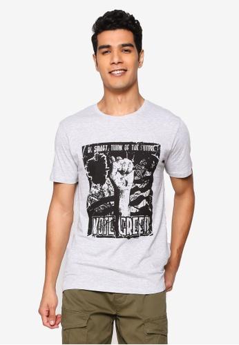 !Solid grey Lorenz Graphic Print T-Shirt 4E66DAA439471AGS_1