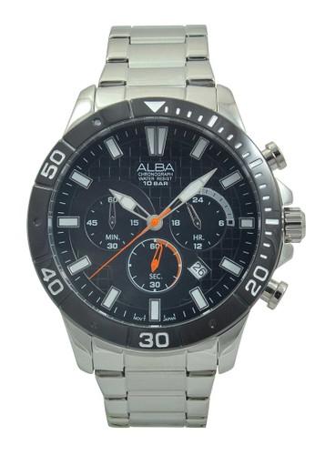 Alba silver ALBA Jam Tangan Pria - Silver Black - Stainless Steel - AT3A07 AL383AC45HIOID_1