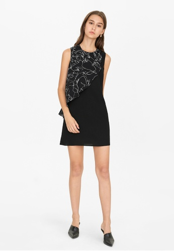 Pomelo black Mini Front Ruffled Dress - Black B37A2AA18E4E3AGS_1