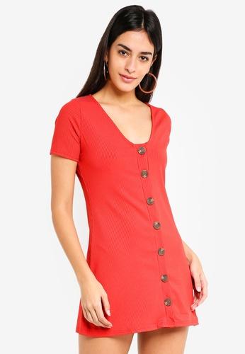 Miss Selfridge 褐色 Petite Rust Button Front Rib Dress 369EAAAAE99FEAGS_1