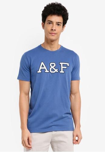 Abercrombie & Fitch blue Global Technique Logo T-Shirt E9F84AAAC24577GS_1
