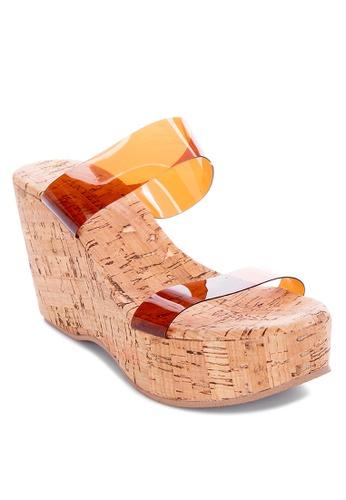 Janylin brown Cork-Wedge with PVC Strap B3BE7SH5075290GS_1