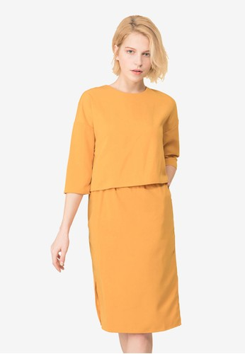 Kodz yellow Long Sleeve Top and Skirt Set A0A96AA3B120FBGS_1