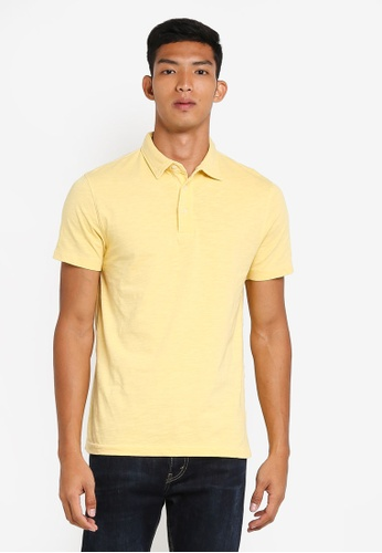 French Connection yellow Multi Slub Polo C2D7AAA3B4AA1EGS_1