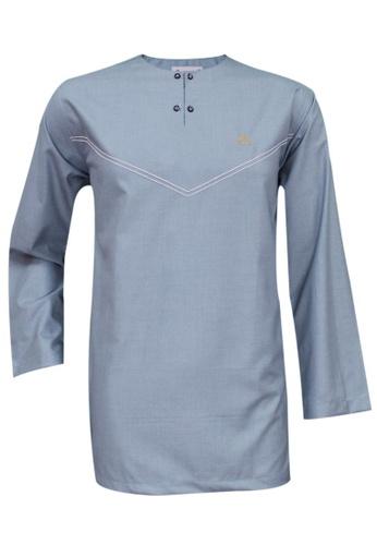 SULTAN blue SULTAN KURTA - CASHMERE - ROUND NECK FULL SLEEVES 97979AA996363BGS_1