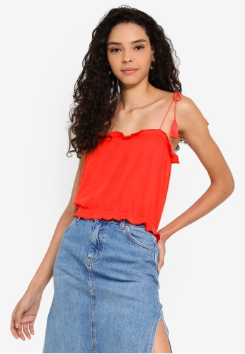 662391178ffa TOPSHOP red Petite Tassle Tie Cami Top 63FC6AAAEB3A05GS_1. CLICK TO ZOOM
