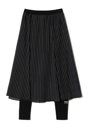 MUSIUM DIV black Sheer stripe print overlay leggings 88B73AA32311F6GS_1