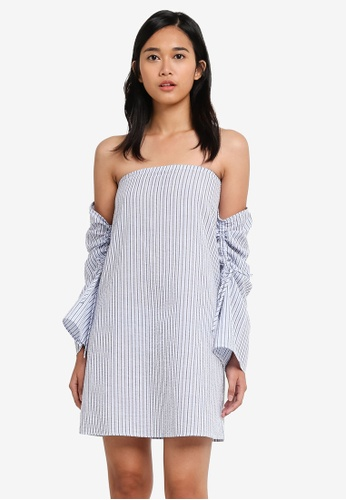 cf2bddade13e6e Something Borrowed blue Drawstring Detail Off Shoulder Dress  2B1F6AA3E2383DGS 1