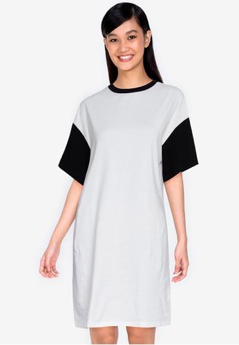 ZALORA BASICS multi Contrast Blocked T-shirt Dress EBF87AA7798868GS_1
