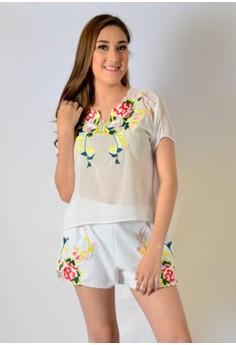 Chiffon set w/ embroidery design w/ sleeve