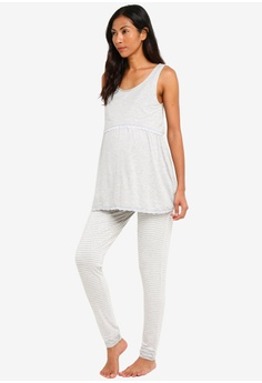 054c6855c1 JoJo Maman Bébé grey Maternity 2-Piece Jersey Pyjama Set 06269AA4E09FACGS 1