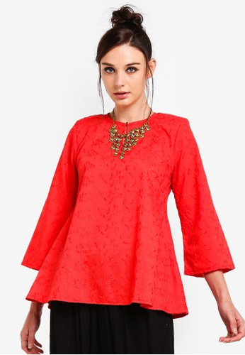 Yans Creation red Sulam Cotton Blouse 52A6FAA7135B36GS_1