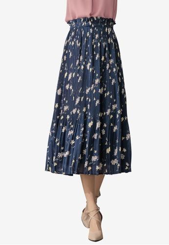 Tokichoi navy Floral Pleated Skirt 8B148AA652188AGS_1
