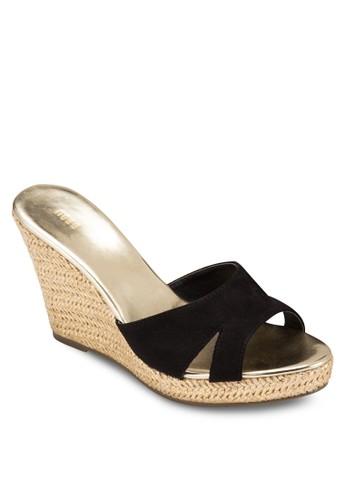 Chrome 金屬鞋緣楔型跟涼鞋, 女esprit台灣官網鞋, 鞋