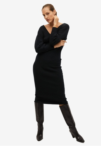 Mango black Ribbed Jersey Dress 20F51AA28F8DA4GS_1