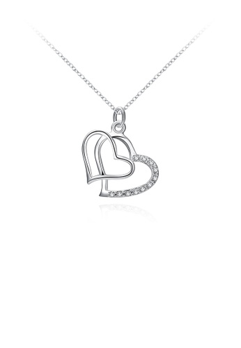 Glamorousky white Simple and Romantic Double Heart Pendant with Cubic Zircon and Necklace 7F63FAC7CBF32DGS_1