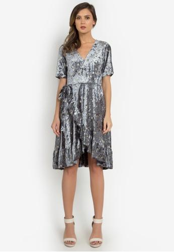 NOBASIC silver Foiled Velvet Ruffled Dress C49AFAA54B3008GS_1