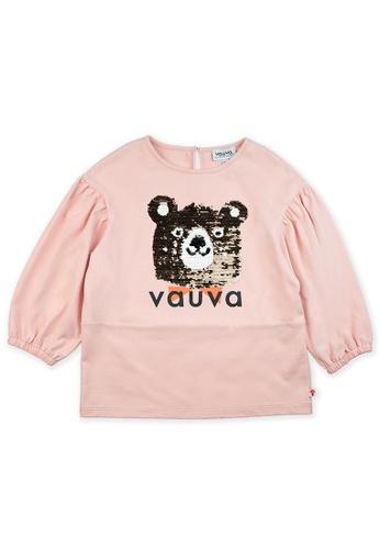 Vauva pink Vauva Girls Sequin Bear Top - Pink BBF34KA65BBEDBGS_1