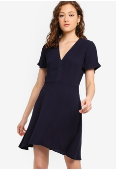 d6c110b9eac French Connection blue and navy Galane Essian Crepe Dress 545FEAAA188969GS 1