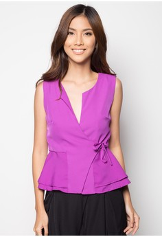 Side Ribbon Semi-Peplum Top