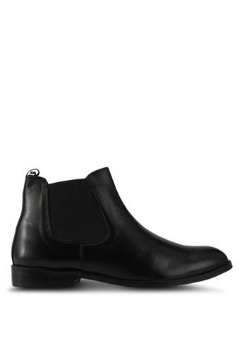 Acuto black Leather Chelsea Boots AC283SH0SL5JMY_1