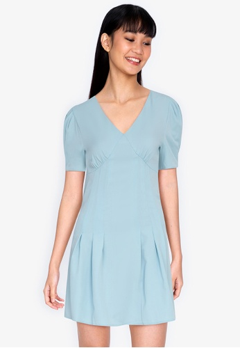 ZALORA BASICS blue Puff Sleeve V Neck Mini Dress 9370BAAD10470AGS_1