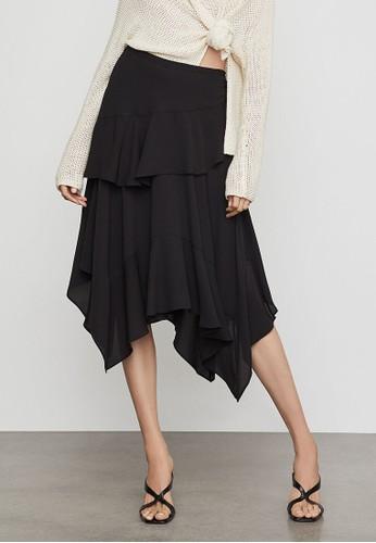 BCBG Max Azria black Tiered Ruffle Handkerchief Skirt FE565AA7F5ECC3GS_1