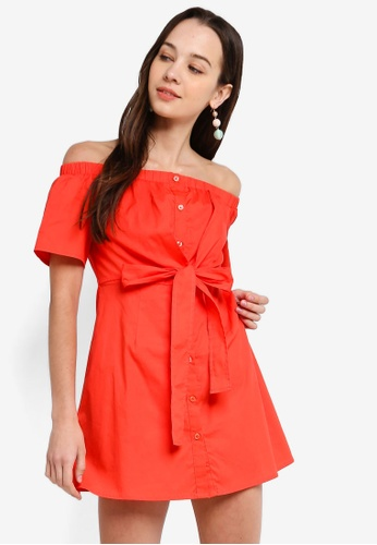 Something Borrowed 橘色 Off Shoulder Knotted Dress DC7F9AA607D05FGS_1