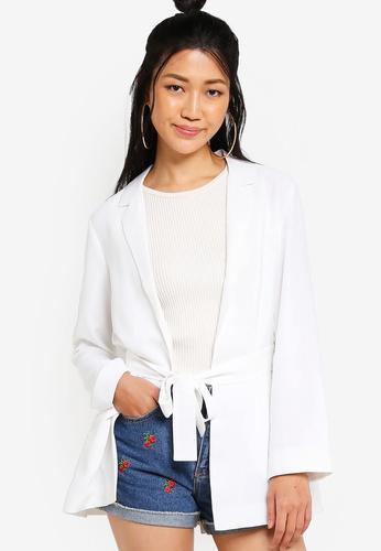Something Borrowed white Belted Blazer 2F816AA69795C2GS_1