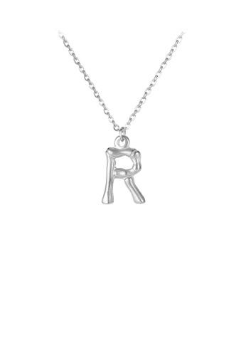 Glamorousky silver Fashion Simple English Alphabet R 316L Stainless Steel Pendant with Necklace DBC34ACC0329EDGS_1