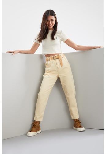 DeFacto beige High Waist Cotton Trousers 8BB83AA79882FCGS_1