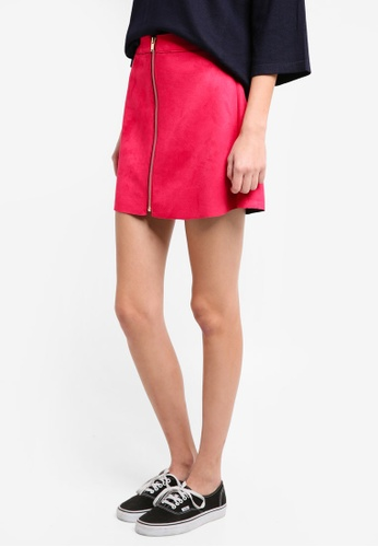 ONLY pink ONLY ONE Faux Suede Skirt 55061AAFC05955GS_1
